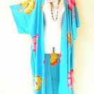 Aqua Hibiscus Plus Cardigan Duster Jacket Kimono Maxi Cover up - 2X, 3X, 4X & 5X