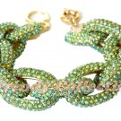 Clearance - Chunky Pave Chain Green Peridot Bracelet J Style 1,500+ Crystals