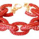 Clearance - Chunky Classy Pave Link Chain Ruby Red Bracelet w/1,500+ Crystals