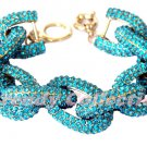 Clearance Chunky Classy Pave Classic Link Chain BLUE Bracelet w/1,500+ Crystals