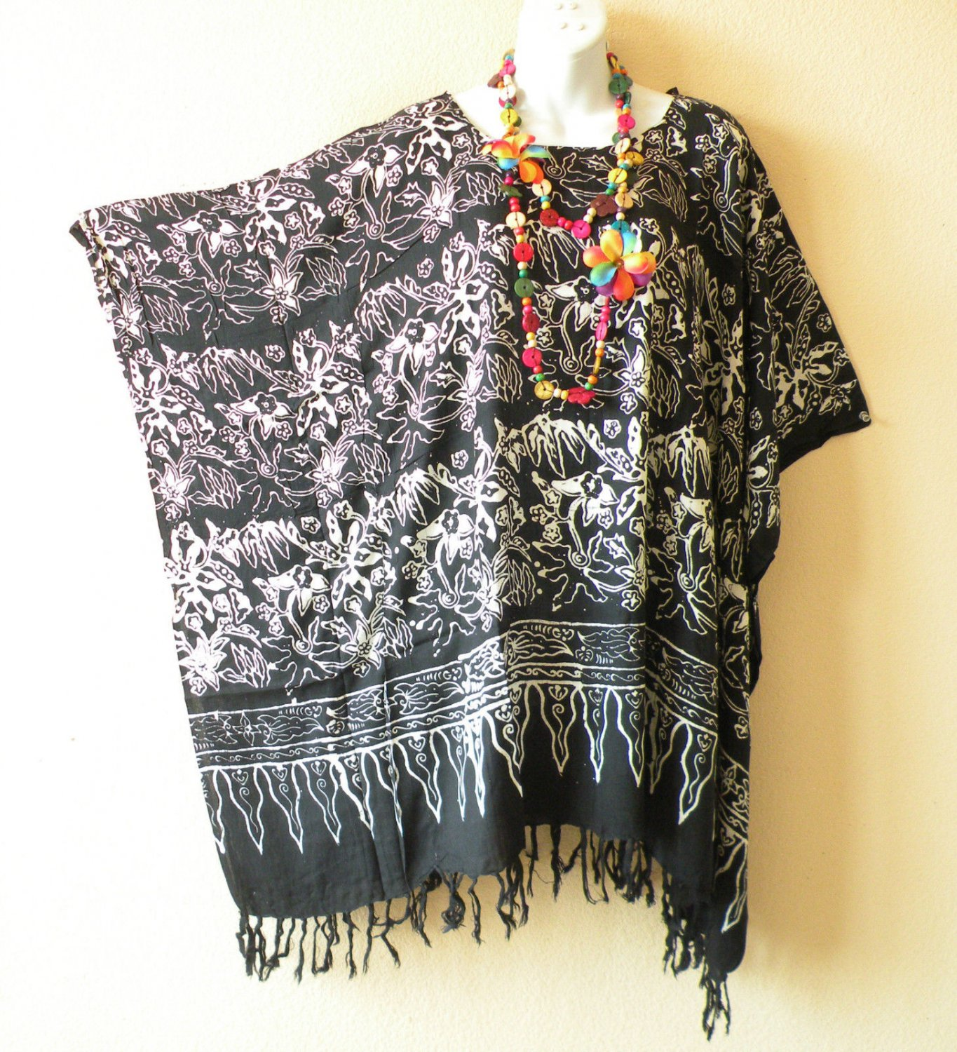 KB92 Black Floral Plus Women Batik Kaftan Poncho Dolman Tunic Top -1X to 4X