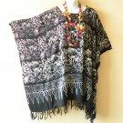KB92 Black Floral Plus Women Batik Kaftan Poncho Dolman Tunic Top -1X to 4X