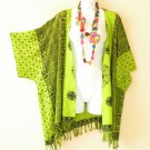 CB265 Green Cardigan Duster Kimono Sleeve Plus Jacket Cover up Top - up to 5X