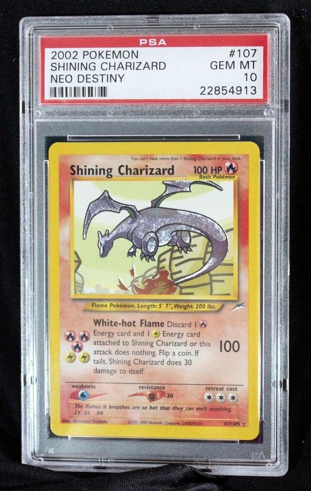 Graded PSA 10 GEM MINT Shining Charizard 107/105  Neo Destiny Pokemon Card TCG