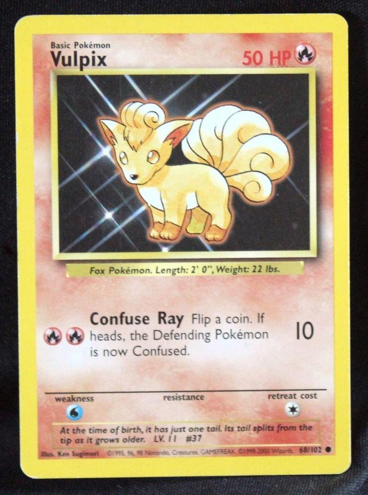 1999-2000 Issue Corrected Vulpix 68/102 NM/EX TCG Base Set Pokemon Card +BONUS!