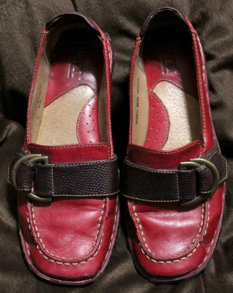 Born Red Leather Slip On Buckle Flats Loafer Shoes Size 6 1/2, Comfortable!