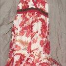 Jonathan Martin Sun Dress Red Brown White Tie Behind Floral 100% Silk Size 10