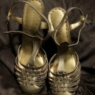Gianni Bini Gold Strappy Leather Sandals Heels Dress Shoes Size 8, Barely Worn!
