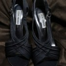 Steve Madden Dignify Black Satin Sandals Leather Sole Heels Dress Shoes Size 7