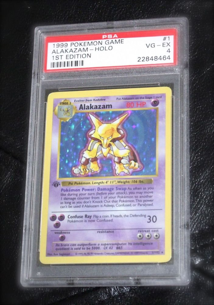 Pokemon Card First Edition Alakazam 1/102 Base Set PSA Graded 4 Very Good-EX!