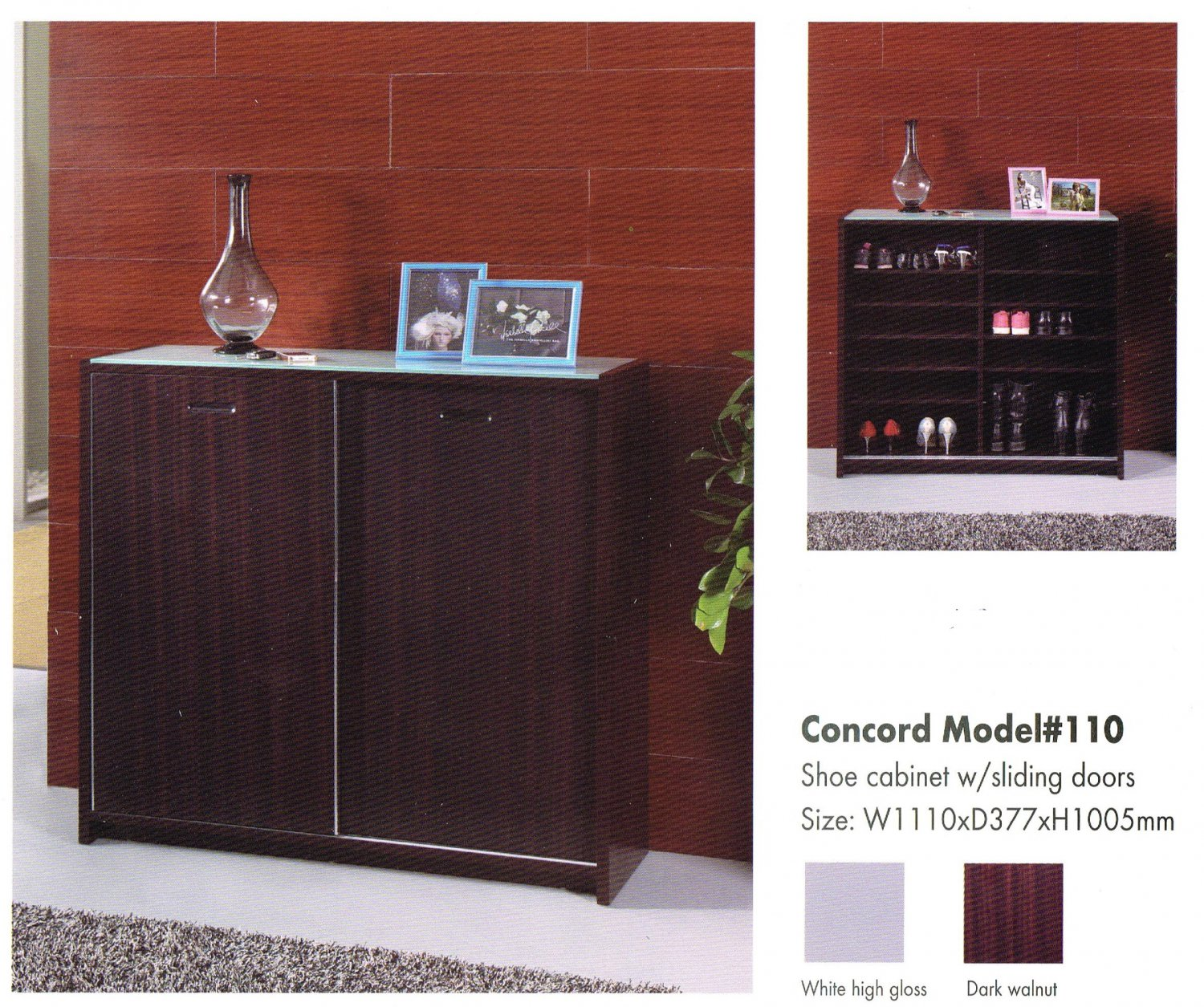 Concord Shoe Cabinet with Sliding Doors Model #110