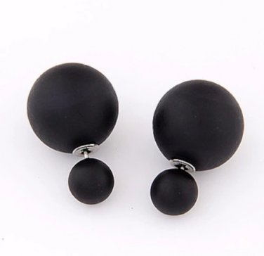 Trendy Double Pearl Earrings BLACK