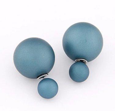 Trendy Double Pearl Earrings BLUE