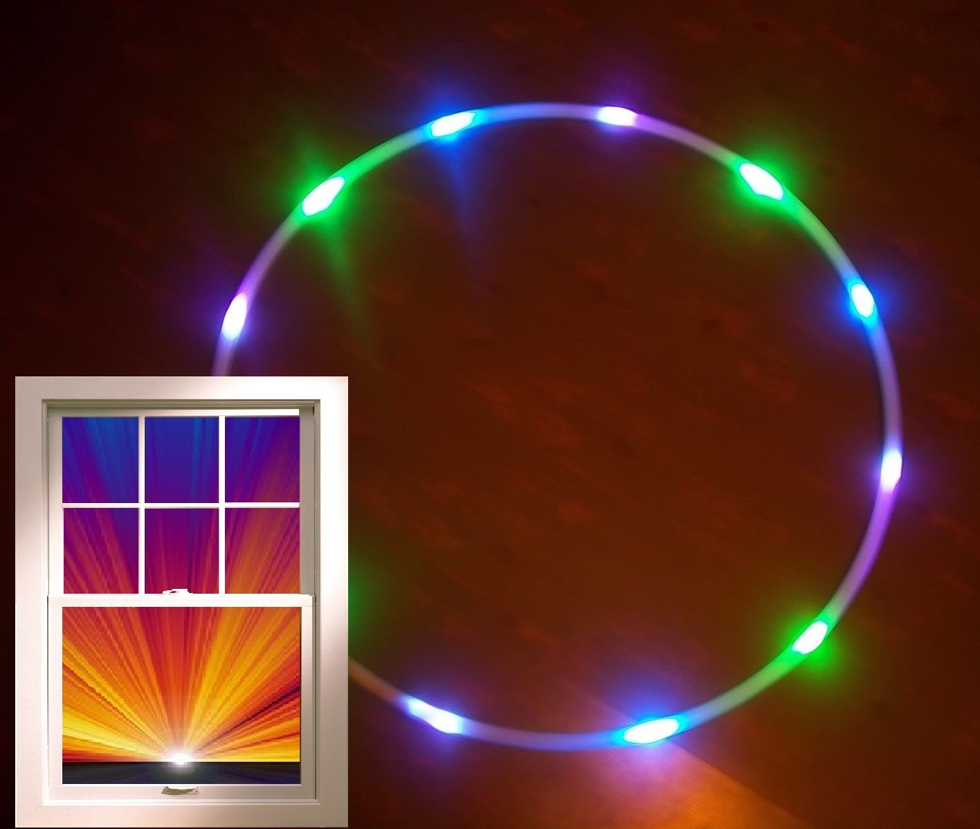 "12 LED Hula Hoop 36"" Green, Purple, UV blacklight Weighs 12oz + Charger/Battery"
