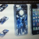 Apple iPhone 5 5S Fusion Diamond Chrome Case Mic Blue pattern Snap-on Luxury