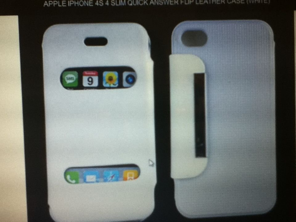 Apple iPhone 4S 4 Slim Quick Answer Flip Leather Case(White) With Stand Function