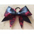 THE SEDUCTIVE - Red Black Lace Leather Cheer Hair Bow Glitter Floral Roses 3-inch Grosgrain Ribbon