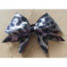 THE WILD - Sequined Black White Gray Cheetah Print Cheer Hair Bow 3-Inch Grosgrain Ribbon