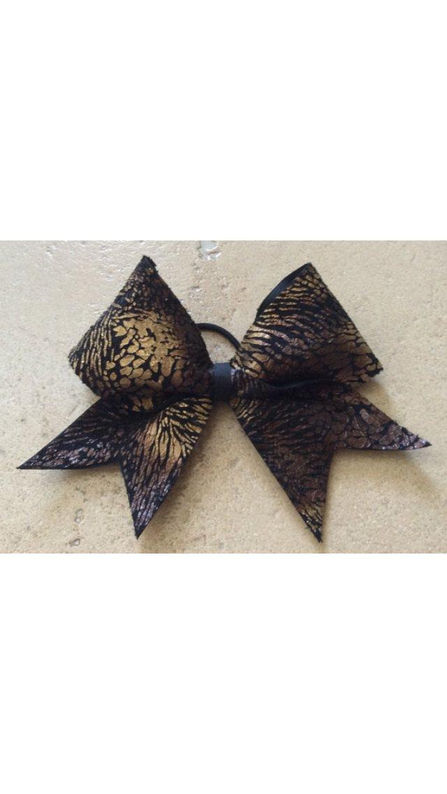 THE FIERCE - Gold Brown Black Cheetah Zebra Animal Print Lace Cheer Hair Bow 3 Inch Grosgrain Ribbon