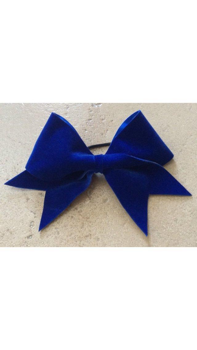 THE ROYAL - Royal Blue Felt Velvet Cheer Hair Bow 3 Inch Grosgrain Ribbon Soft