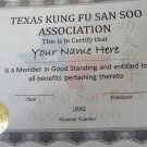 Basic membership to the Texas Kung Fu San Soo Association