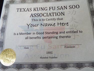 Basic membership to the Texas Kung Fu San Soo Association