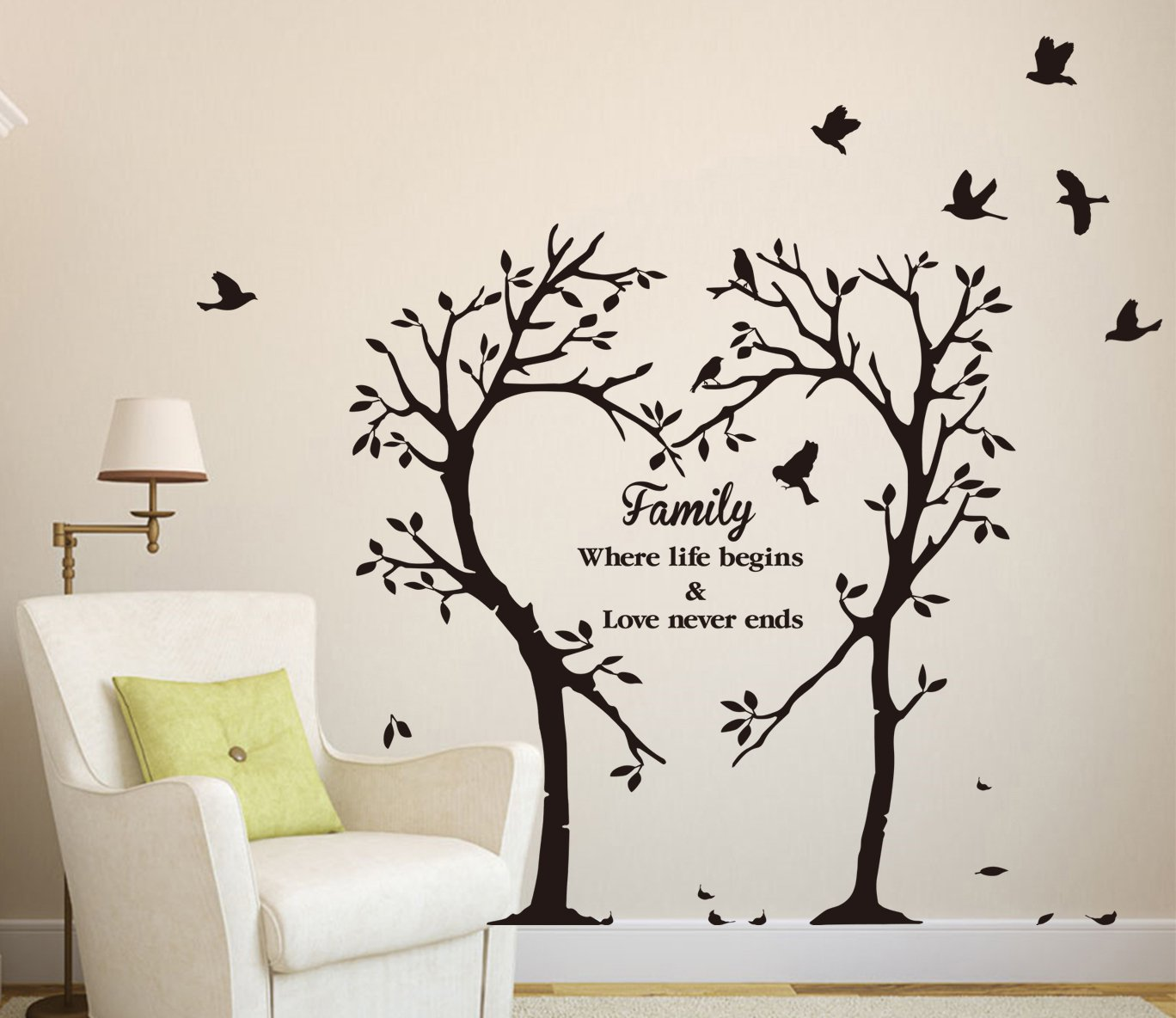 Large family inspirational love tree wall art sticker for Tree wall art