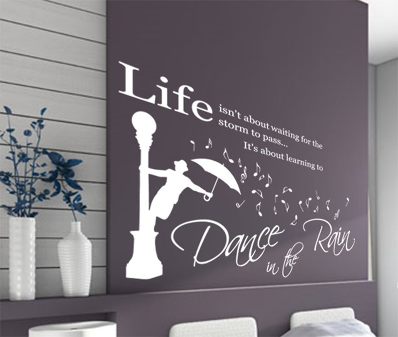 Large \'Dance in the Rain\' Wall ART Quotes Vinyl Sticker, DIY Wall Decal