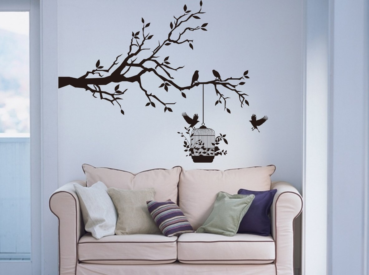 Large 'Tree Branch with Birds & Cage' Wall Art Vinyl Sticker, Wall Decal