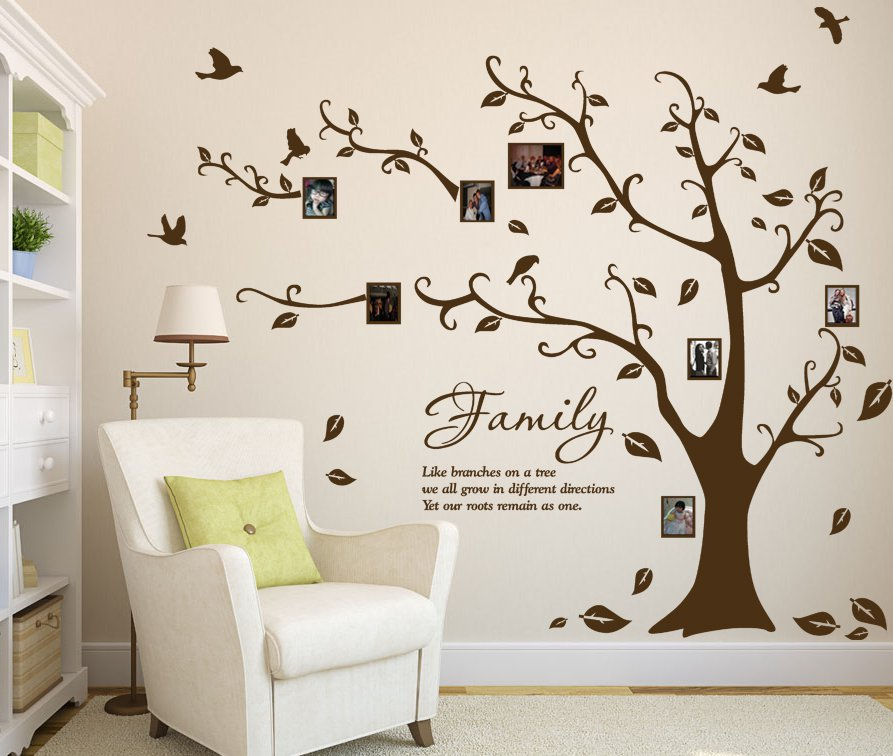 large family photo tree birds art vinyl wall sticker. Black Bedroom Furniture Sets. Home Design Ideas