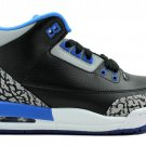 Nike Air Jordan 3 Retro Sport Blue Black Cement 5.5y GS big kids