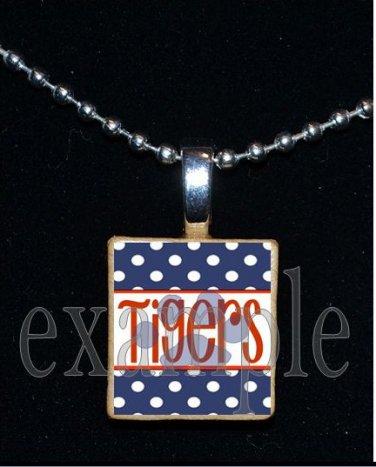 TIGERS Orange & Navy Mascot Team Jersey Pendant