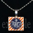 TIGERS GIRL Orange & Navy Mascot Team School Pendant Necklace or Keychain