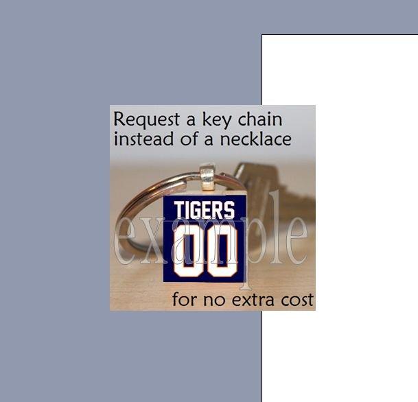 TIGERS PERSONALIZED JERSEY Orange & Navy Mascot Team School Keychain