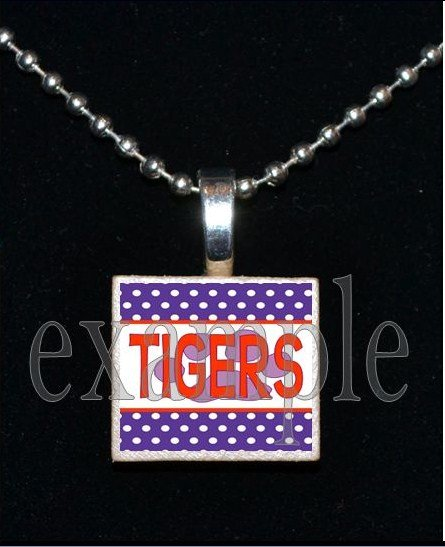 TIGERS Orange & Purple Mascot Team Jersey School Pendant Necklace or Keychain