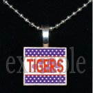 TIGERS Orange & Purple Mascot Team Jersey School Pendant Necklace or Keychain