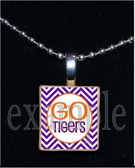 GO TIGERS Orange & Purple Mascot Team Jersey School Pendant Necklace or Keychain