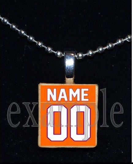 TIGERS PERSONALIZED JERSEY Orange & Purple Mascot Team School Pendant Necklace or Keychain