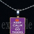 KEEP CALM AND GO TIGERS Orange & Purple Mascot Team Jersey School Pendant Necklace or Keychain