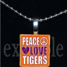 PEACE LOVE TIGERS Orange & Purple Mascot Team Jersey School Pendant Necklace or Keychain