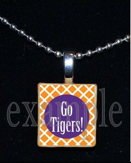 GO TIGERS Orange & Purple Mascot Team School Jersey Pendant Necklace or Keychain
