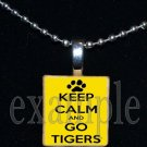 KEEP CALM AND GO TIGERS Black & Gold Mascot Team Jersey School Pendant Necklace or Keychain