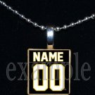 TIGERS PERSONALIZED JERSEY Black & Gold Mascot Team School Pendant Necklace or Keychain