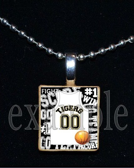 TIGERS PERSONALIZED BASKETBALL JERSEY Black & Gold Mascot School Team Pendant Necklace or Keychain