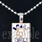 BEARS GIRL Navy Orange White Team Mascot Pendant Choices
