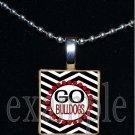 GO BULLDOGS Black & Red Team Mascot Pendant Necklace or Keychain