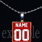 BULLDOGS PERSONALIZED JERSEY Black & Red Team Mascot Pendant Necklace or Keychain