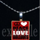 PEACE LOVE BULLDOGS Black & Red Team Mascot Pendant Necklace or Keychain
