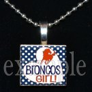 BRONCOS GIRL Navy, White & Orange Team Mascot Pendant Necklace or Keychain