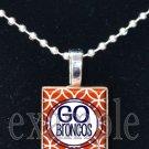 GO BRONCOS Navy, White & Orange Team Mascot Pendant Necklace or Keychain
